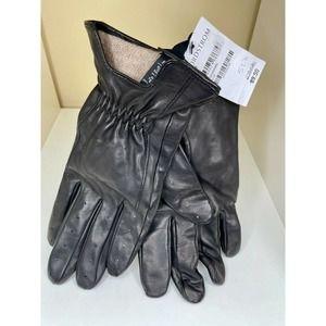 $90 NWT Nordstrom Men's Black Leather Gloves S/M